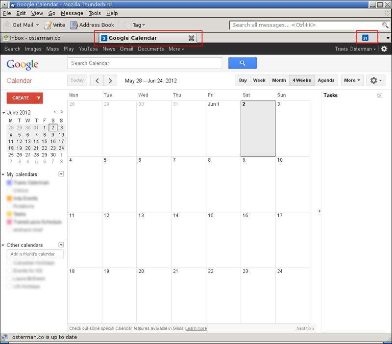 thunderbird google calendar tab